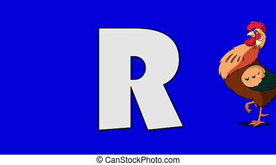 Letter R and Rooster (background) - Animated animal...