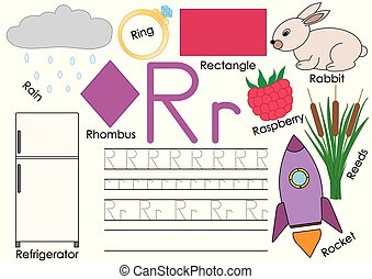 Letter R. Card with pictures and writing practice for preschool children. Learning English language.