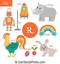 Letter R. Cartoon alphabet for children. Radish, rhinoceros, rocket, raspberry, robot, rainbow, rake, rooster, rabbit