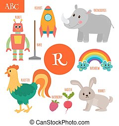 Letter R. Cartoon alphabet for children. Radish, rhinoceros, rocket, raspberry, robot, rainbow, rake, rooster, rabbit