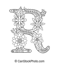 Mandala With Letter R For Coloring Vector Decorative Zentangle