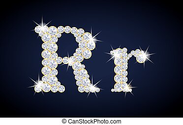 """Letter """"R"""" composed from diamonds with golden frame. Complete alphabet set."""