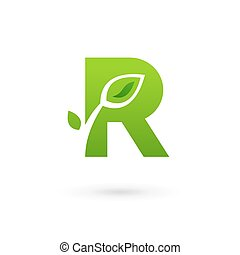 Letter R eco leaves logo icon design template elements