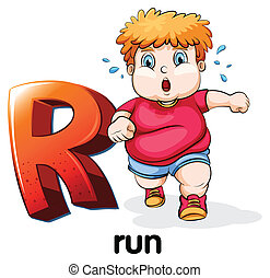 Letter R - Illustration of a letter r with sample word