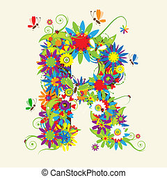 Letter R, floral design. See also letters in my gallery