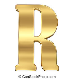 Letter R from gold solid alphabet.