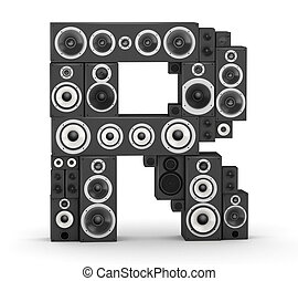 Letter R from speaker - Letter R from black hi-fi speakers...