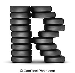 Letter R from stacked tire - Letter R staked from cars...