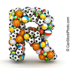Letter R, gaming balls alphabet - Letter R, stacked from...