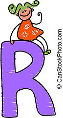 letter R girl - little girl sitting on a letter R