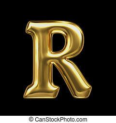 LETTER R in golden metal - Letter in gold metal on a black...