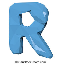 Letter R in Low Poly Style on white background.3D Rendering. Illustration