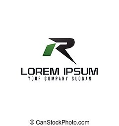 letter R logo. fast speed design concept template