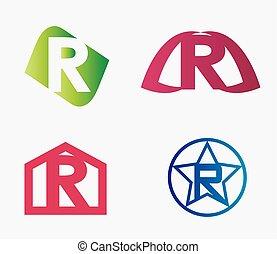 Letter R logo icon set
