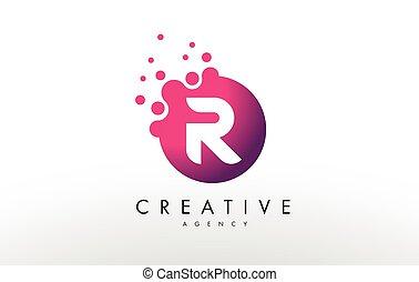Letter R Logo. R Letter Design Vector - Dots Letter R Logo....