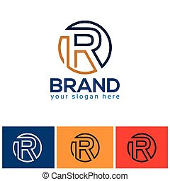 Letter R logo with circle vector icon, flat design