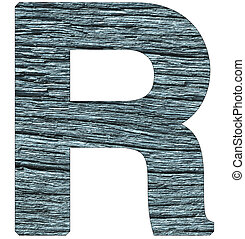 Letter R of the alphabet, with wood texture in blue color