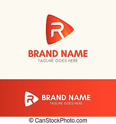 Letter r dot polygon logo template element symbol in sky color