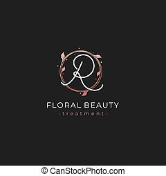Letter R Premium Vector of Round Floral Frame Element