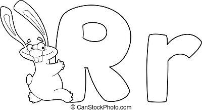 letter R rabbit outlined