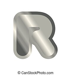 Letter R steel font. Metal alphabet sign. Iron ABC symbol. chromium lettering. Silver typography