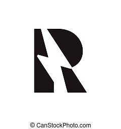letter r thunder negative space logo vector