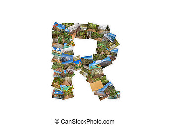 Letter R uppercase font shape alphabet collage made of my...