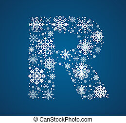 Letter R, vector font frosty snowflakes