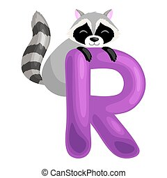 letter R with animal raccoon for kids abc education in preschool.