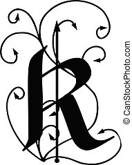 Letter R with arrows
