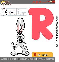 letter r with cartoon rabbit