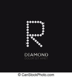Letter R with gemstones