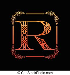 Letter R with ornament