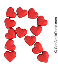 letter r with red hearts, 3d illustration