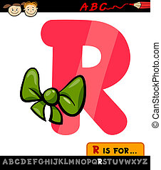 letter r with ribbon cartoon illustration
