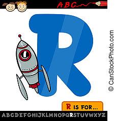 letter r with rocket cartoon illustration