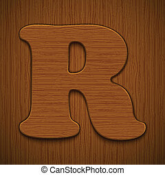 "Letter ""R"". Wooden alphabet. Vector illustration."