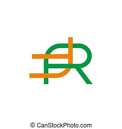 letter rt linked colorful linear geometric design symbol logo vector