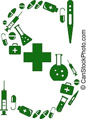 Letter S, alphabet of medicine pills
