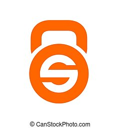 Letter S and kettlebell Logo Icon, Orange Color Vector...