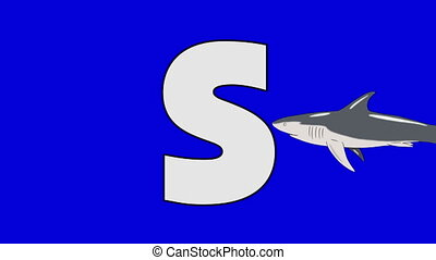 Letter S and Shark (foreground) - Animated animal alphabet....