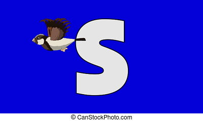 Letter S and Sparrow (foreground) - Animated animal...
