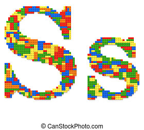 Letter S built from toy bricks in random colors - Letter S...