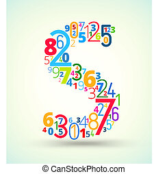 Letter S, colored vector font from numbers - Letter S, from...