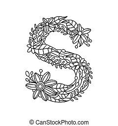 Mandala with letter s for coloring. vector decorative zentangle ...