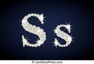 "Letter ""S"" composed from diamonds with golden frame...."