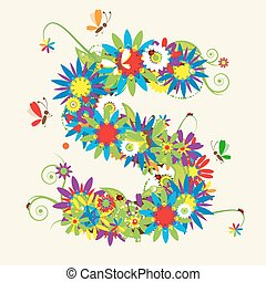 Letter S, floral design. See also letters in my gallery