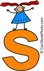 happy little girl standing on top of giant letter S - lowercase version