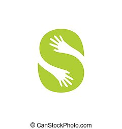 letter s green leaf hand care logo vector