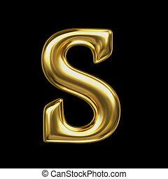 LETTER S in golden metal